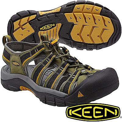 KEEN 1014181橄欖綠/黃 NewPort H2 男戶外護趾涼鞋