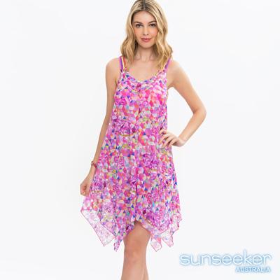 澳洲Sunseeker泳裝時尚桃紅幾何美背造型網紗洋裝罩衫