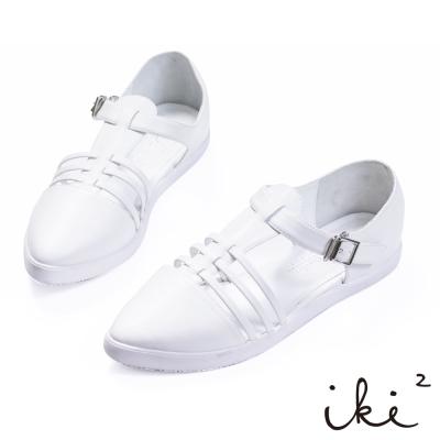 iki2-質感亮面鏤空尖頭扣環涼鞋 - 簡約白