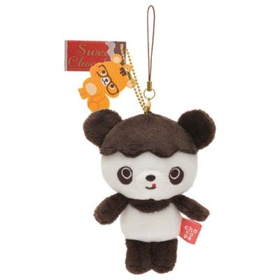 巧克貓熊行李箱系列毛絨公仔吊飾。變身中