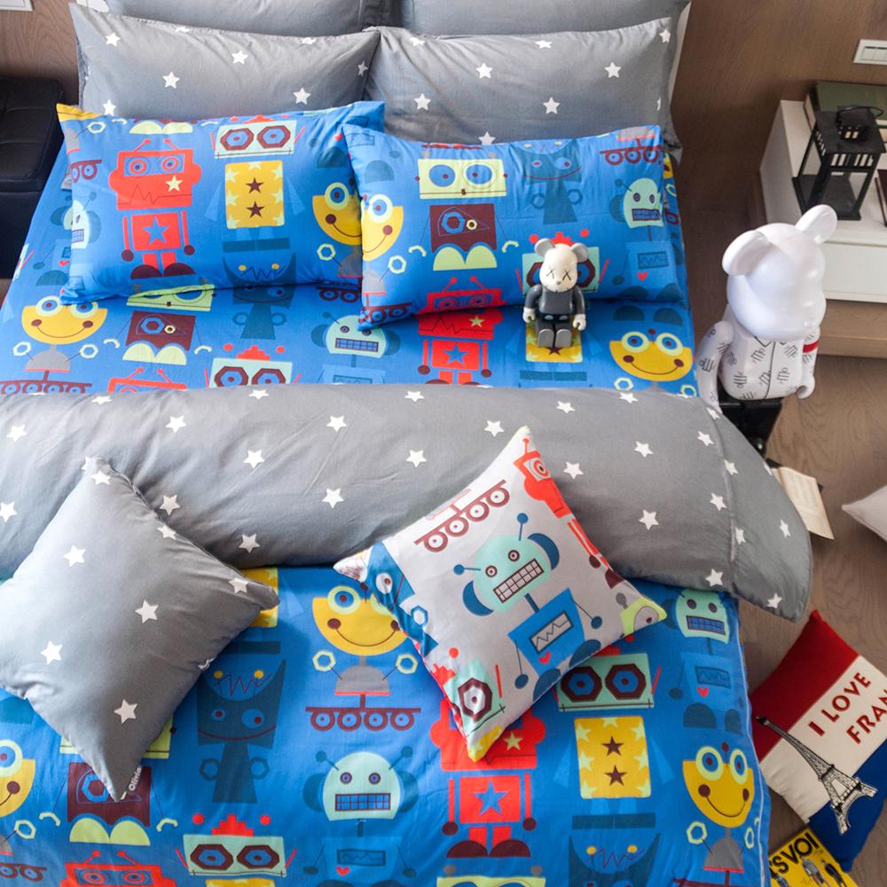 OLIVIA   機器紀元 藍   雙人兩用被套床包四件組