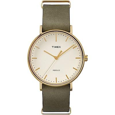 TIMEX 天美時 週末Fairfield系列時尚手錶-米x綠/41mm
