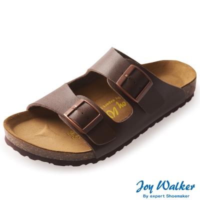 Joy Walker 金屬雙釦二條休閒拖鞋*咖啡色