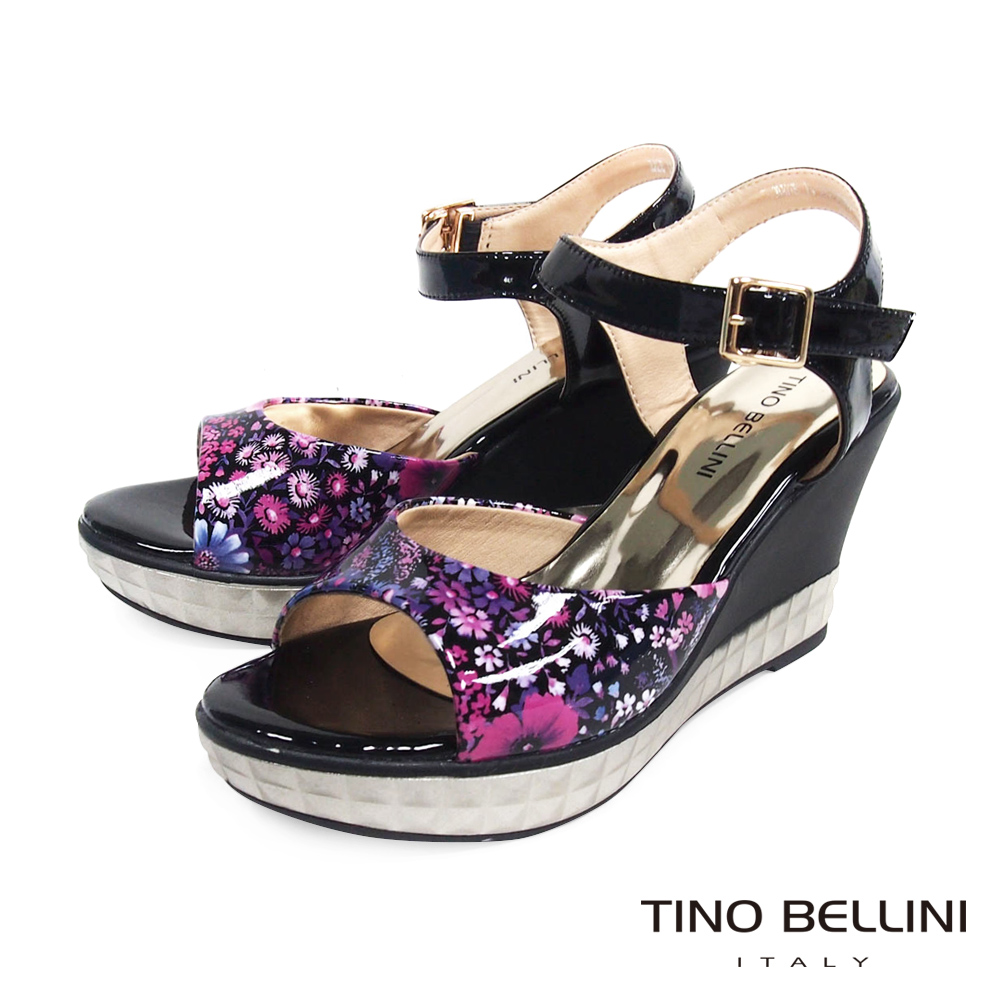 Tino Bellini摩登和風印象花卉楔型涼鞋_黑
