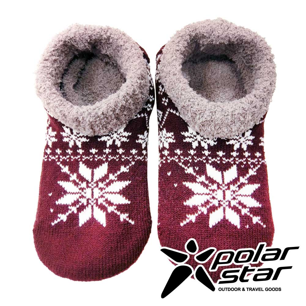 Polarstar 防滑室內保暖襪『雪花紅』P16636