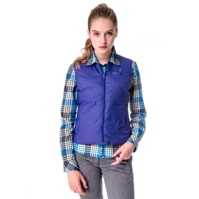 【hilltop山頂鳥】女款雙面穿保暖蓄熱羽絨內背心F25FG1藍/紫