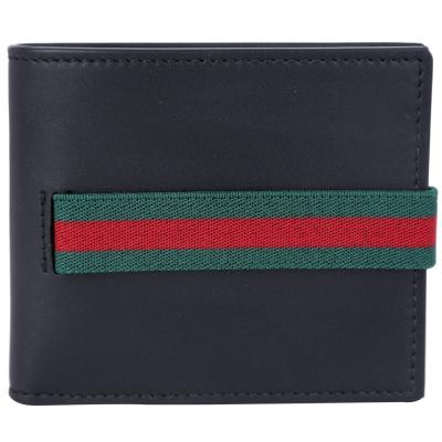 GUCCI Elastic Leather 紅綠織帶對折短夾(黑色)