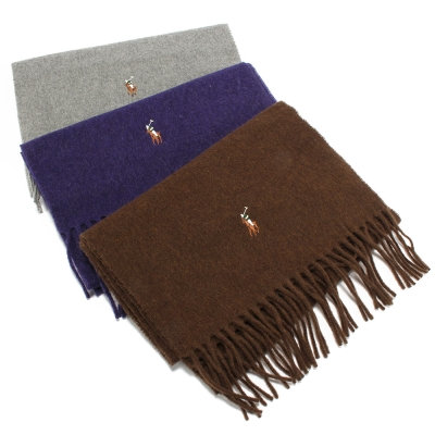 RALPH LAUREN POLO 彩色小馬刺繡LOGO羊毛圍巾-多色任選 1980