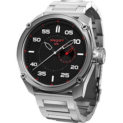 elegantsis Army 特務風雲日期時尚腕錶-黑x銀/47mm