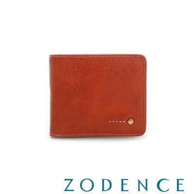 ZODENCE MAN義大利植鞣革系列金LOGO設計三折窗零錢短夾 橘紅