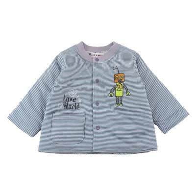 愛的世界 純棉機器人舖棉兩面穿長袖外套-藍/6M~3歲