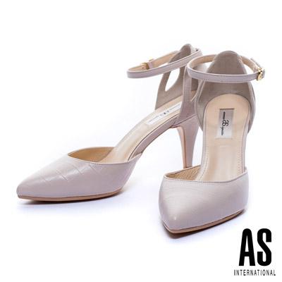 AS-鱷魚壓紋羊皮側空繫帶造型尖頭瑪麗珍鞋-粉