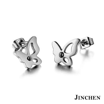 JINCHEN-白鋼蝴蝶耳環-銀色