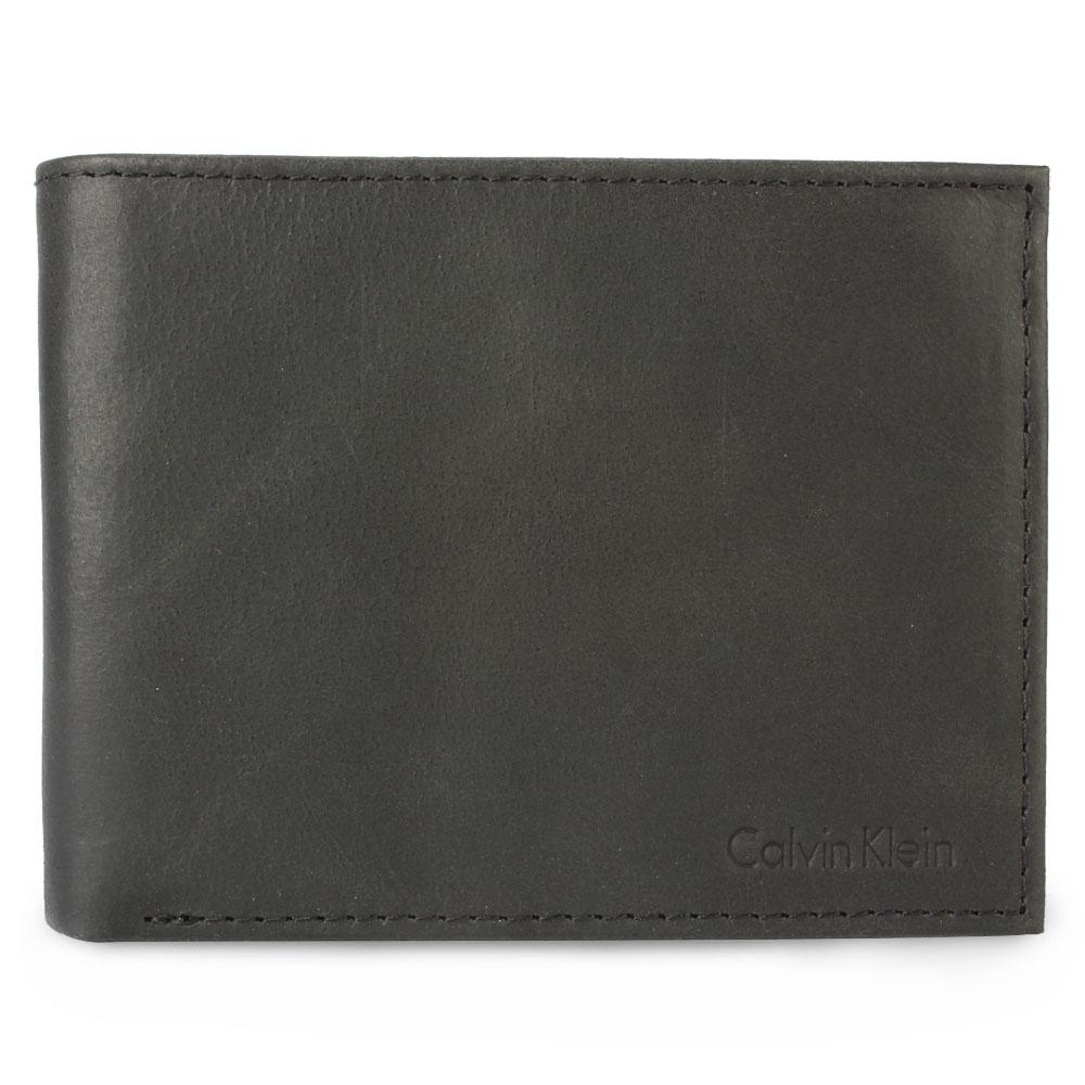 Calvin Klein 素面壓紋LOGO多卡短夾禮盒-黑色