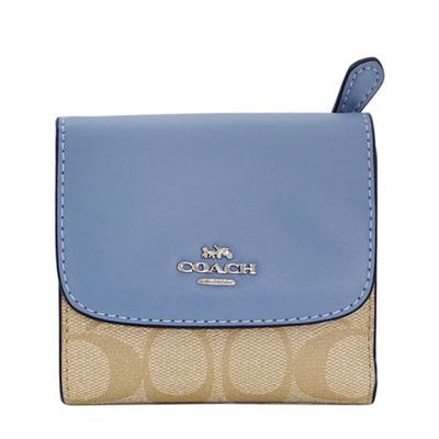 COACH水藍真皮拼接淺卡C Logo三摺輕便短夾