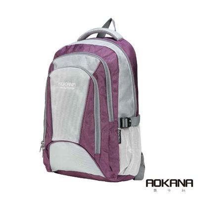 AOKANA奧卡納 輕量防潑水護脊紓壓機能電腦後背包(寧靜紫)68-087