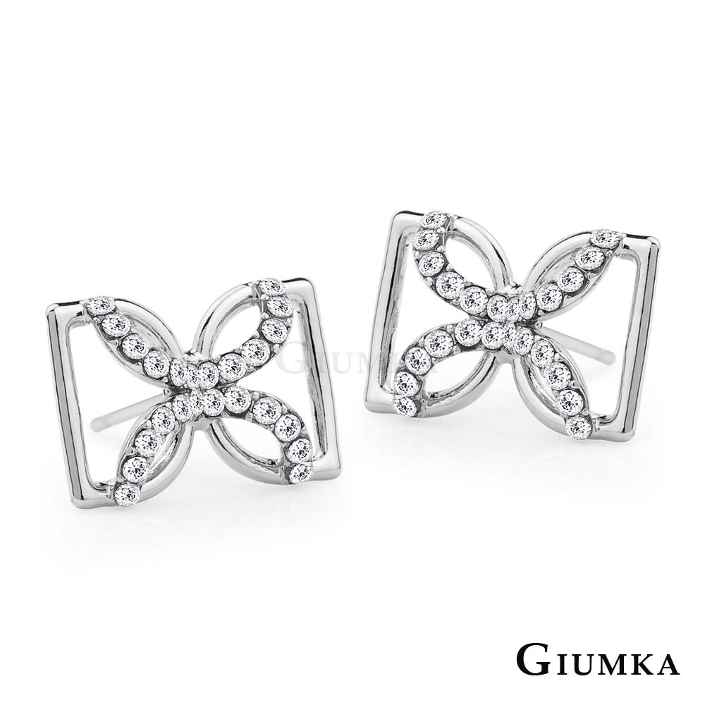 GIUMKA韓國韓劇相似款耳環蝴蝶結精鍍正白K-共3色