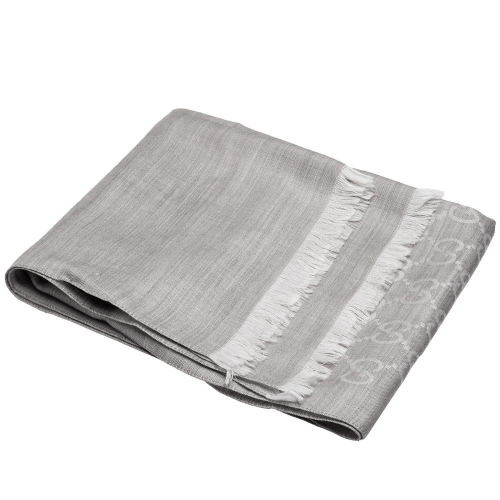GUCCI 經典大G緹花羊毛混絲流蘇圍巾(灰/200X70cm)GUCCI