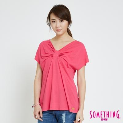 SOMETHING 蝴蝶結造型T恤-女-桃紅色