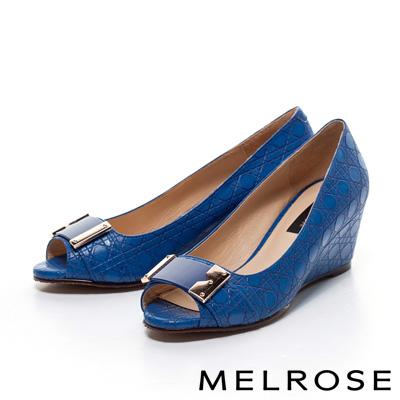 MELROSE-造型壓紋魚口楔型高跟鞋-藍