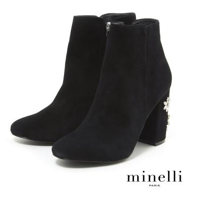 Minelli--巴西製造全真皮高粗跟短靴-奢華黑