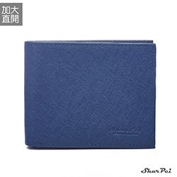 SharPei沙皮狗-凜冬騎士x加大直開十字紋真皮短夾-雅痞藍