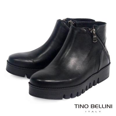 Tino Bellini 義大利進口質感全真皮雙側拉鍊厚底短靴_黑