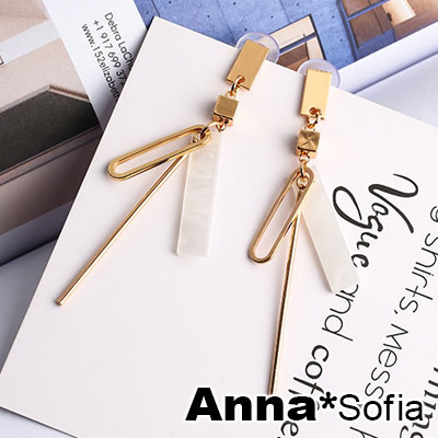 AnnaSofia 風尚長方片彩貝 大型耳針耳環(金系)