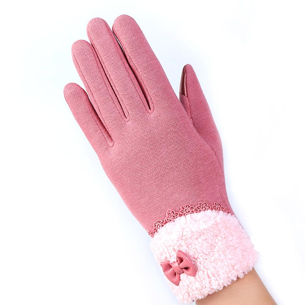 幸福揚邑 防風加絨觸控騎車開車保暖棉手套-可愛絨毛-粉色