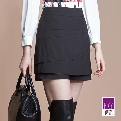 ILEY伊蕾-時尚剪接純色褲裙-紫-黑