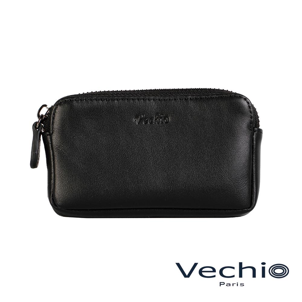 VECHIO-紳士商務款II-經典素面拉鍊厚零錢包-時尚黑