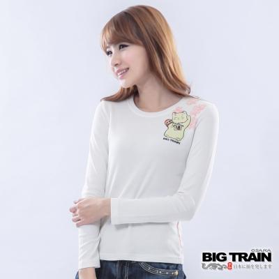 BIG TRAIN 粉櫻招財貓印花TEE-女-白