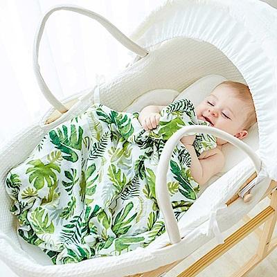 Baby unicorn 手繪葉子竹纖維嬰兒包巾