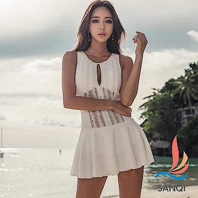 SANQI三奇 雅緻迷人 一件式連身泳裝(白M~XL)