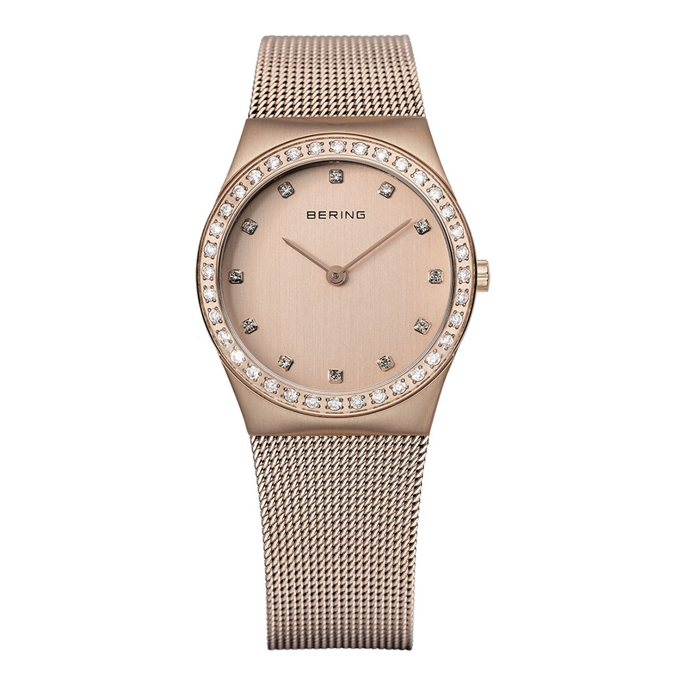 BERING丹麥精品手錶 閃耀晶鑽米蘭帶系列 藍寶石鏡面 玫瑰金30mm