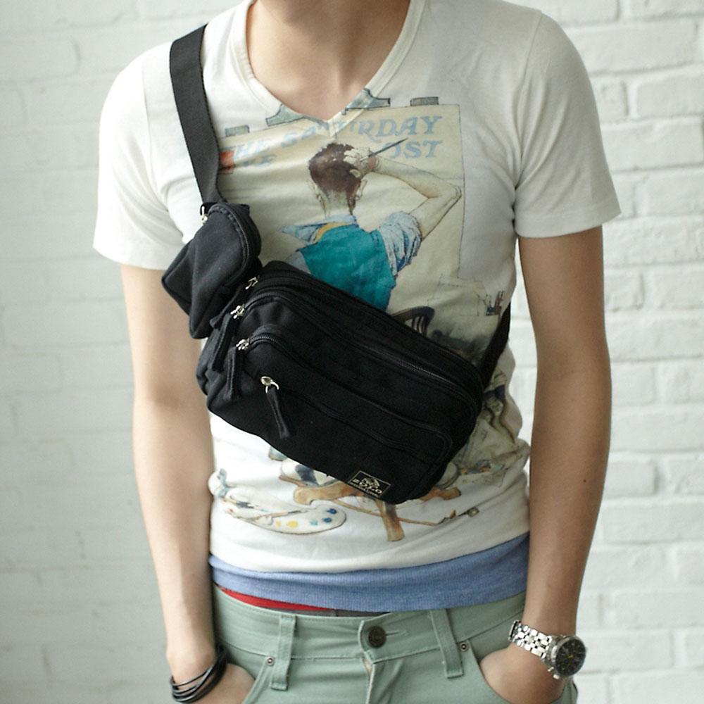 DF【BAG SCHOOL】最新率性款多功能實用斜肩腰包(共2色)
