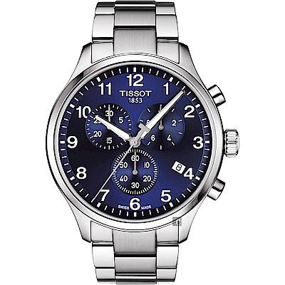 TISSOT天梭 韻馳系列 Chrono XL計時手錶-藍x銀/45mm