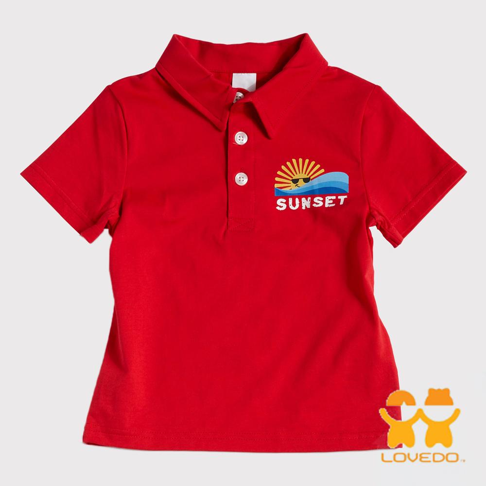 【LOVEDO艾唯多童裝】晴朗海灘 潮流短袖Polo衫 (紅)