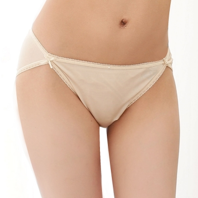 三角褲 100%蠶絲蝶舞紛飛低腰內褲2件組M-XL(膚色) Seraphic