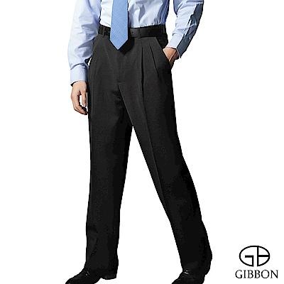 GIBBON 簡約防寒刷毛打摺西裝褲‧黑色31-42