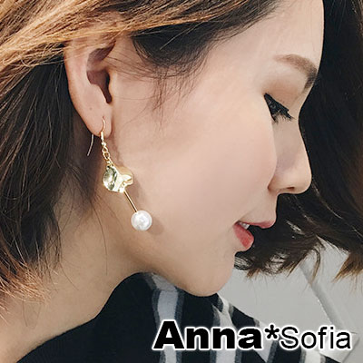 【3件5折】AnnaSofia 角彎曲線墬直線垂珠 耳針耳環(金系)