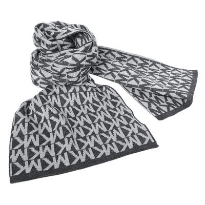 MICHAEL KORS深淺灰色MK文字保暖長圍巾