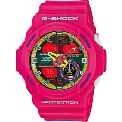 G-SHOCK 機械感鏤空雙顯休閒錶(GA-310-4A)-粉/52.2mm