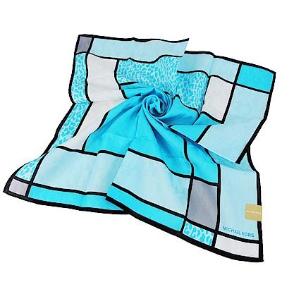 MICHAEL KORS滿版格邊豹紋帕巾-小/水藍
