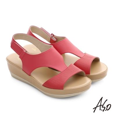 A.S.O 嬉皮假期 真皮拼接壓紋魔鬼氈涼拖鞋 桃粉紅色