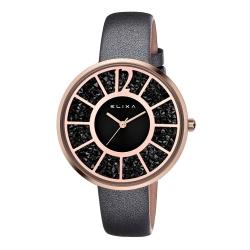 ELIXA Finesse簡約晶鑽錶面幾何刻度系列 黑x玫瑰金40mm