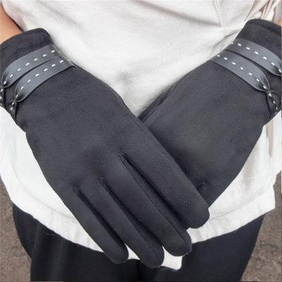 ACUBY-一指觸控典雅編織手套-黑