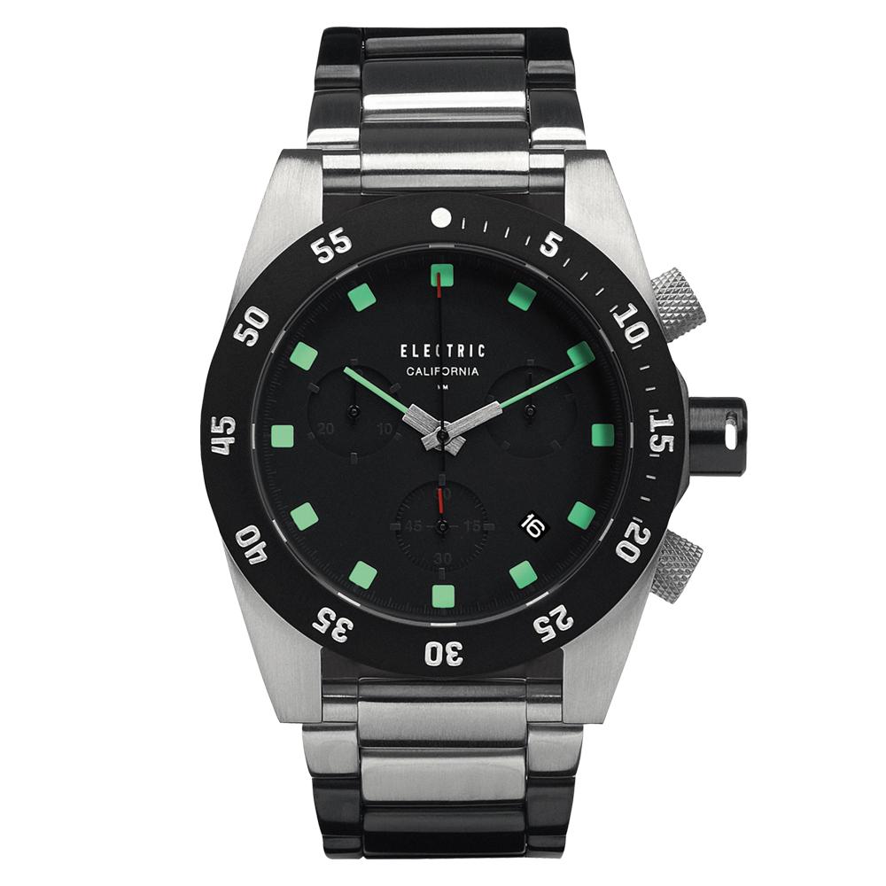 ELECTRIC DW01系列-經典潛水三眼計時腕錶-黑x綠x銀黑雙色鋼帶/44.5mm