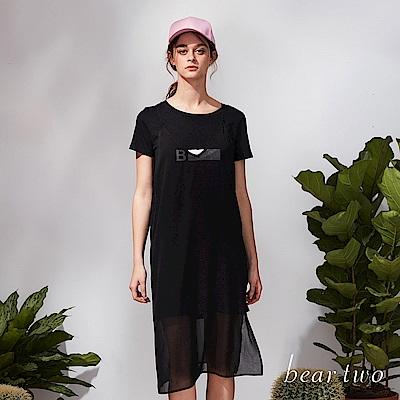 beartwo 休閒長版T恤兩件式微透網紗洋裝(二色)-動態show