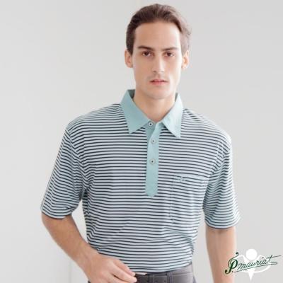 PAUL MAURIAT波爾.瑪亞吸溼排汗短袖POLO衫-綠橫紋